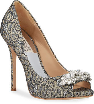 Badgley Mischka Vanetia Crystal Embellished Lace Pumps