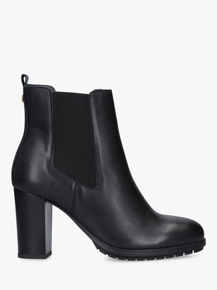 Carvela Comfort Royal Block Heel Leather Ankle Boots, Black