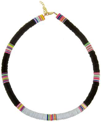Allthemust Large Black and Grey Heishi Bead Necklace - Yellow Gold