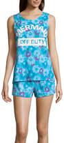 Asstd National Brand Peace Love & Dreams Shorts Pajama Set-Juniors