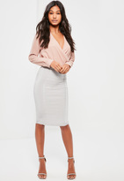 Missguided Grey Premium Bandage Panel Insert Midi Skirt