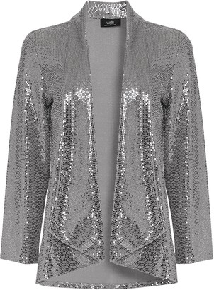 Wallis Silver Sequin Relaxed Fit Blazer