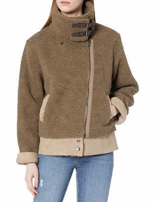 EVIDNT Women's Faux Shearling & Suede Warm Contract Jacket