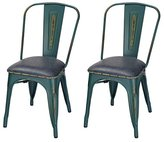 Home's Art Industrial Chic Metal Barstool With Full Back And PU Cushion, Antique Green (SET OF 2) Seat Height: 18 inches