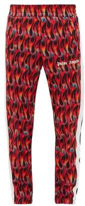 Palm Angels Side-stripe Flame-print Track Pants - Mens - Black Red