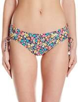 Anne Cole Women's Baby Stripe Budding Romance Reversible Side Tie Bikini Bottom