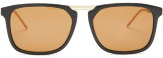 Gucci Square Acetate And Metal Sunglasses - Brown