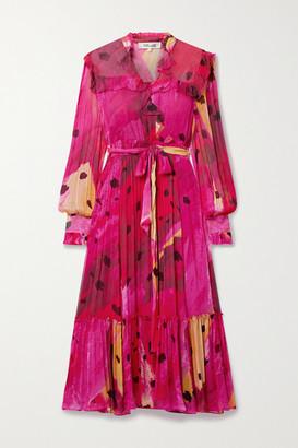 Diane von Furstenberg Meredith Wrap-effect Ruffled Printed Chiffon Dress - Pink