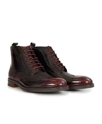 Ted Baker Hi Shine Brogue Boots Colour: DARK RED, Size: UK 8