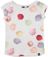 Molo Robinette Cap-Sleeve Ice Cream Jersey Tee, White/Multicolor, Size 3-12