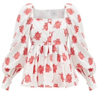 Erdem Noria Balloon-sleeve Rose Fil Coupe Blouse - Red White