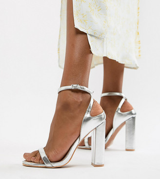 Lost Ink Wide Fit Silver Block Heel Ankle Strap Sandals