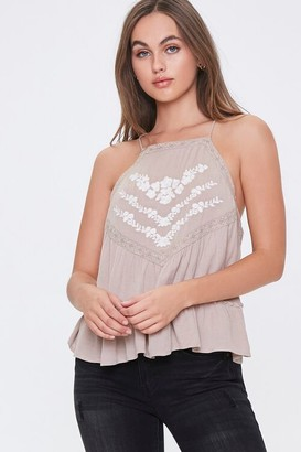 Forever 21 Floral Embroidered Top
