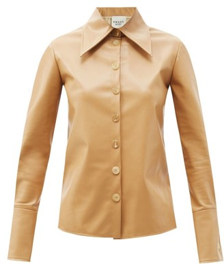 A.W.A.K.E. Mode Point-collar Faux-leather Shirt - Beige
