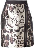 Blumarine leopard print zip skirt