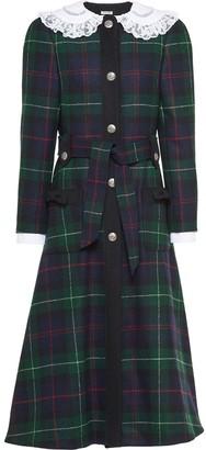 Miu Miu Lace Collar Plaid Shetland Coat