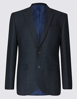 M&S Collection Wool Blend Checked Harringbone Jacket