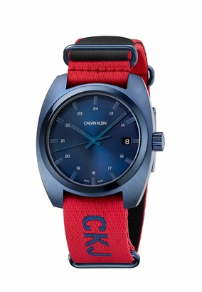 Calvin Klein Jeans Men's Achieve Nato Textile Red Strap Blue Dial Watch