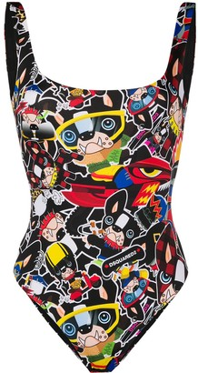 DSQUARED2 Comic Print Swimsuit