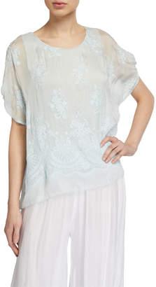 Moda Seta Embroidered Silk-Blend Top