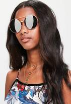 Missguided Rose Gold Round Sunglasses, Pink