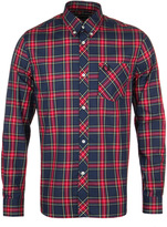 Fred Perry M7130 Reissues Navy Tartan Long Sleeve Shirt