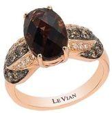 LeVian Chocolate Quartz, Vanilla Diamond, Chocolate Diamond and 14K Rose Gold Ring