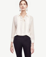 Ann Taylor Tie Neck Pleated Blouse