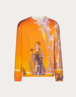 Valentino Yellow City Print Sweatshirt Man Multicoloured 94% Cotone, 6% Poliammide L