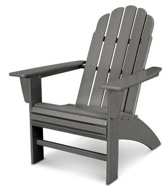 Polywood Vineyard Curveback Resin Adirondack Chair Color: SlateGray