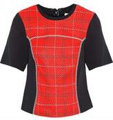 3.1 Phillip Lim Paneled Checked Woven And Twill Top