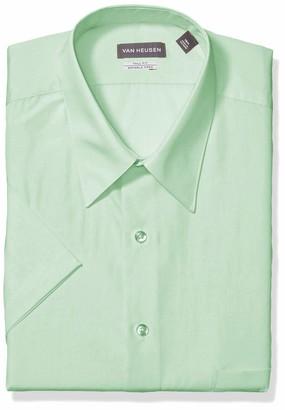 Van Heusen Men's Big Short Sleeve Poplin Solid Tall Fit Dress Shirt