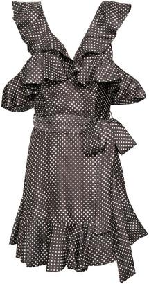 Zimmermann Belted Ruffled Polka-dot Twill Mini Dress