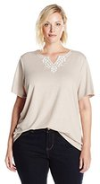 Alfred Dunner Women's Plus Size Beaded Knit Top with Side Rouche