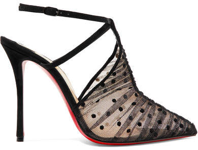 Christian Louboutin Acide Lace 100 Flocked Tulle Pumps - Black
