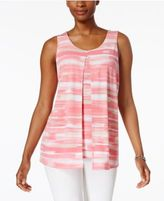 Charter Club Striped Split-Front Top, Only at Macy's