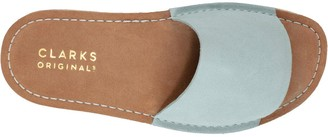 Clarks Lunan Leather Slide Flat Sandal - Light Blue