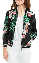 Vince Camuto Tropical Print Bomber Jacket