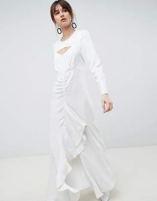 Asos Ruffle Maxi Dress in Grid Print