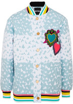 House of Holland Heart Appliquéd Matelassé Bomber Jacket - Blue