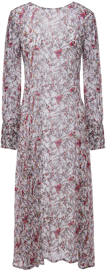 IRO Sunlight Ruffle-trimmed Printed Georgette Midi Dress