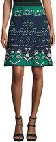 M Missoni Floral Jacquard Knit Skirt, Teal