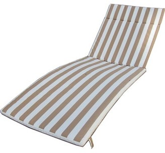 """Beachcrest Homeâ""""¢ Polyester Indoor/Outdoor Chaise Lounge Cushion Beachcrest Homea Fabric: Brown/White"""