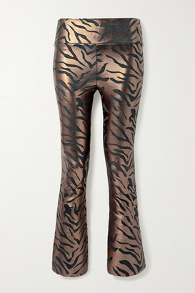 Sprwmn Cropped Metallic Zebra-print Leather Flared Pants - Copper