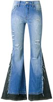 Amapô - distressed overlay maxi flared jeans - women - Cotton/Elastodiene - 34