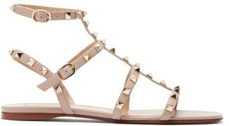 Valentino Rockstud Flat Leather Sandals - Womens - Nude