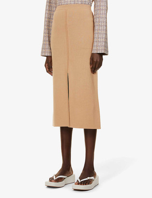 Gabriela Hearst Hodgkins reversible high-waist wool and cashmere-blend midi skirt