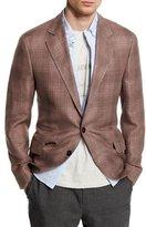 Brunello Cucinelli Plaid Linen-Blend Two-Button Blazer