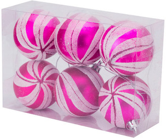 "Queens of Christmas 2.36"" Hot Pink Matte Ornament w/ Pink & White Glitter Sprial Stripes,"