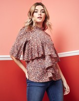 Vila High Neck Printed Ruffle Top